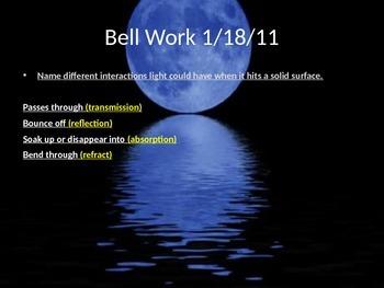 6 days of Bell-work on Light