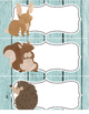 6 large labels, 2pgs in word - woodland animals - bear, ow
