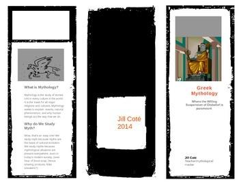 6 panel Brochure: Quick Info on Greek Myth