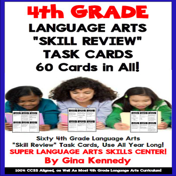 4th Grade Language Arts Task Cards, Review All Reading & W