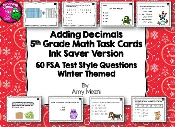 60 Adding Decimals Task Cards FSA Style Questions Ink Save