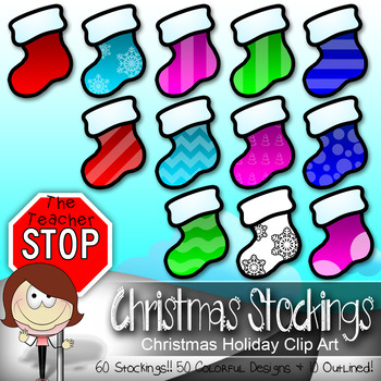 60 Christmas Stockings - Holiday Clipart {The Teacher Stop}