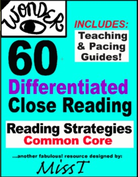 60 Differentiated CLOSE READING to use with Wonder by R.J.