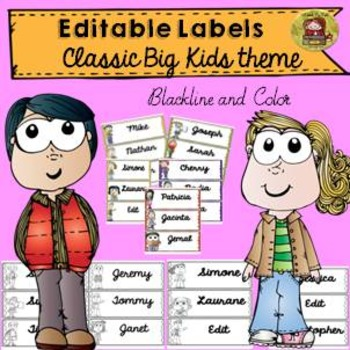 BACK TO SCHOOL - 60 EDITABLE LABELS {CLASSIC BIG KIDS THEME}