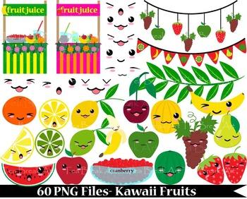 60 PNG Files- Kawaii Fruits- Digital Clip Art- 300 dpi 089