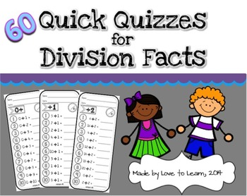 60 Quick Quizzes for Division Facts