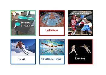 60  Sports Flashcards in French  .