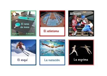60  Sports Flashcards in Spanish  .