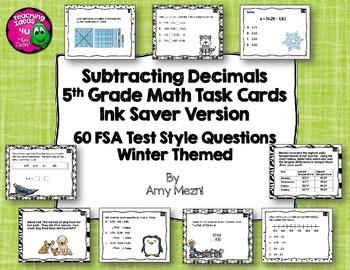 60 Subtracting Decimals Task Cards 5th Grade FSA Style Que