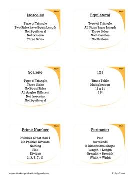 60 Third Grade Math Taboo Cards