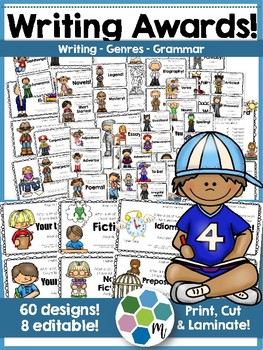 60 Writing Awards with Genres, Grammar & 8 Editable Awards