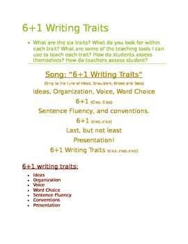 6+1 Writing Traits, song, information, informal assessment