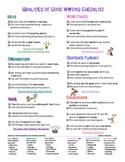 6+1 Writing Traits/Qualities of Good Writing Checklist