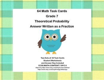 64 Math Task Cards -Seventh Grade -Theoretical Probability
