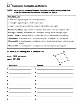 6.4 Rhombuses, Rectangles, and Squares (C) - Extra Teachin