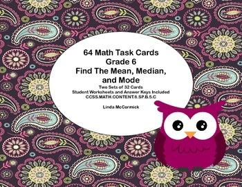 64 Task Cards - Grade 6-Mean,Median,& Mode-CCSS.MATH.CONTE