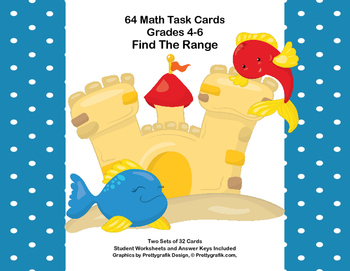 64 Task Cards - Grades 4- 6-Find the Range-Nautical Theme