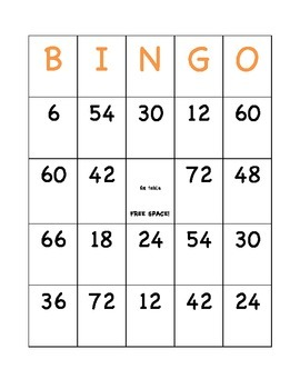 6,7,8 times tables BINGO