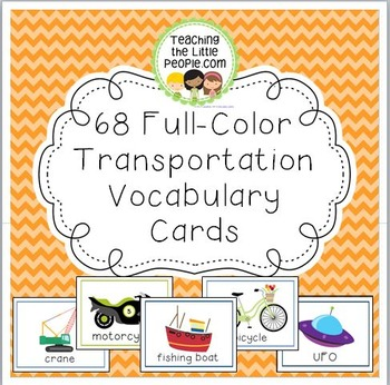 68 Full-Color Transportation Vocabulary Cards