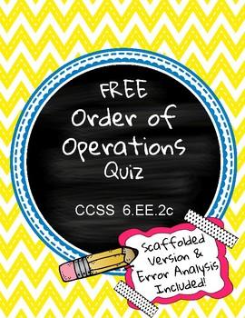6.EE.2c Order of Operations Quiz