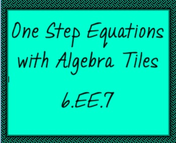 6.EE.7 One Step Equations with Algebra Tiles, ActiveInspir