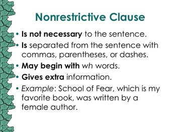 6.L.2.a Nonrestrictive Elements or Clauses