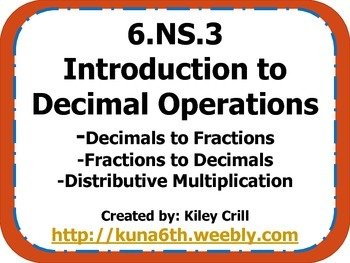 6.NS.3 Decimal Operation Introduction - Multiplication PDF