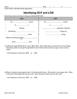 6.NS.4 GCF/LCM Problem Solving
