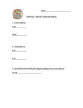 6.NS.4 LCM, GCF and Distributive Property Quiz