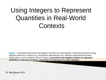 6.NS.5 Common Core Integer Representation Real World Examples