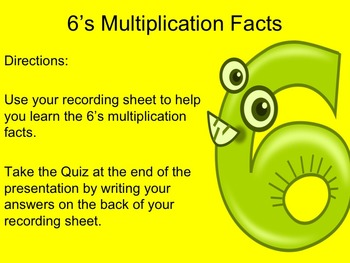 6's Multiplication Facts Interactive PowerPoint with Graph