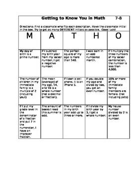 6th - 8th Grade Math Icebreaker Activity