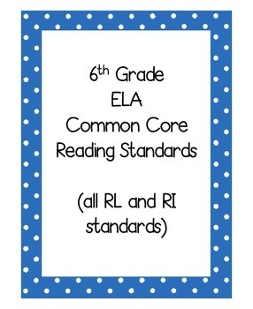 6th ELA Common Core Reading Standards Posters