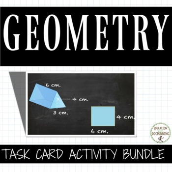 6th grade Geometry Task Card Activity Bundle - Area, Volum
