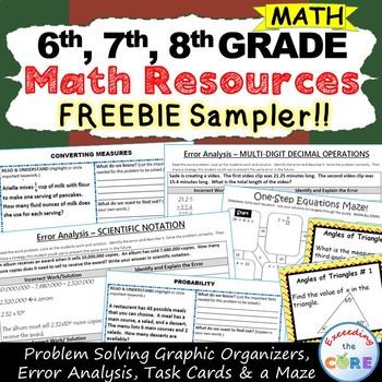 6th Grade, 7th Grade 8th Grade Math Resources ~ Milestone FREEBIE