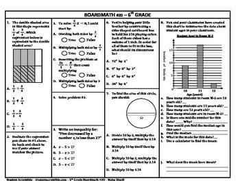 6th Grade Board Math #20 - Standardized Test Practice