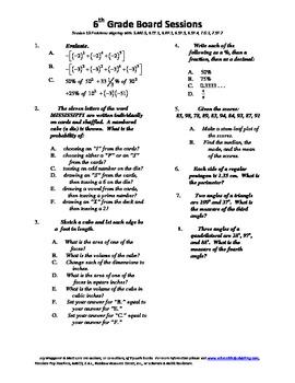 6th Grade Board Session 19,Common Core,Review,Math Counts,