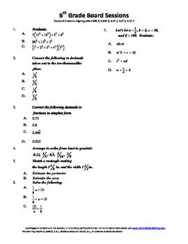 6th Grade Board Session 8,Common Core,Review.Math Counts,Q