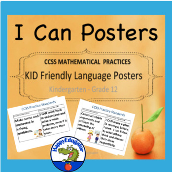 CCSS Mathematical Practices Standards Posters K - 12