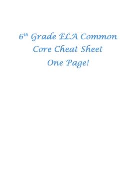 6th Grade Common Core Cheat Sheet (1 Page)