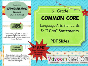 """6th Grade Common Core ELA Standards with """"I Can"""" Statements PDF"""