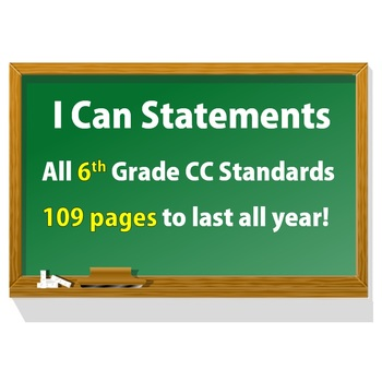 6th Grade Common Core Math I CAN statement posters (109 pages!)