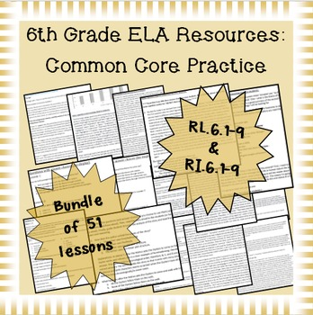 6th Grade Common Core Practice ALL 17 Reading Standards