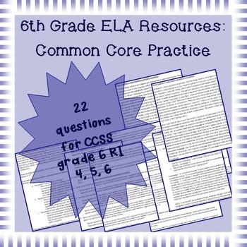 6th Grade Common Core Practice - RI4, 5, 6: Author's Craft