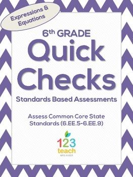 6th Grade Math Common Core Quick Check Mini Assessments (6