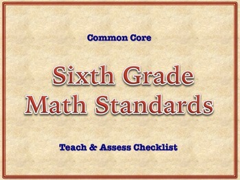 6th Grade Common Core Standards - MATH Assessment Checklist