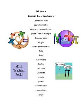 6th Grade Common Core Vocabulary Cards