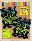 6th Grade Daily Math and Language Spiral Review Bundle | M