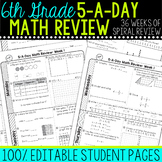 6th Grade Daily Math Spiral Review | Morning Work