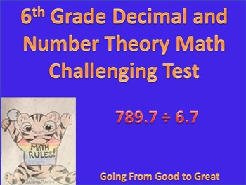 6th Grade Decimal and Number Theory Challenging Math Test